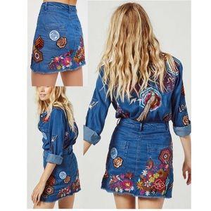 🎉HP🎉 Flower Child Denim Skirt Spell Designs